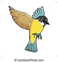 flying tit bird - vector, coloured, sketch, hand drawn image...