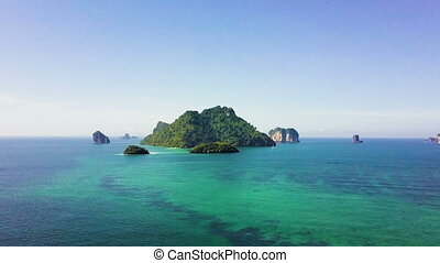 Flying towards beautiful islands in Krabi Thailand - Flying...