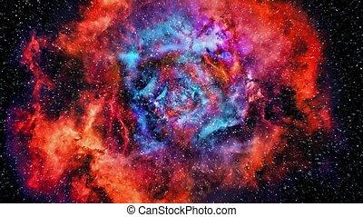 Flying Towards Vast Colorful Nebula