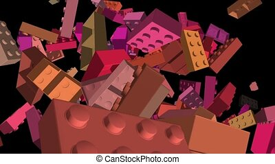 Flying toy bricks in various colors