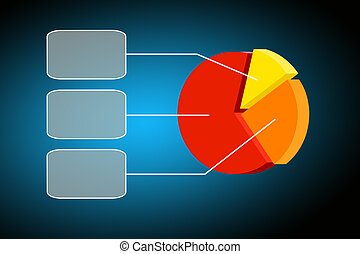 colorful pie chart- graph - Flying transparent button with...