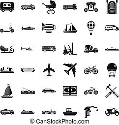 Flying transport icons set, simple style