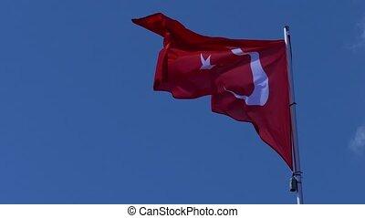 Flying Turkish Flag