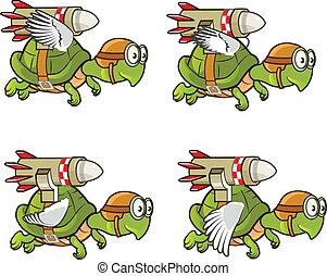 Flying Turtle with Rocket Sprite - Illustration of Flying...