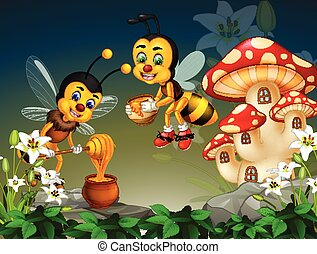Flying Two Bees With Honey in Forest With Mushroom House in Background Cartoon