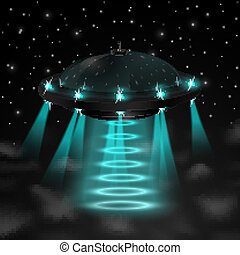 Flying ufo in the night vector illustration