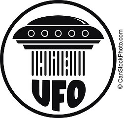 Flying ufo ship logo, simple style