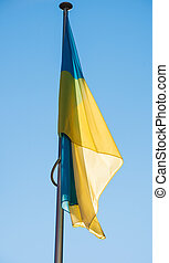 Flying Ukraine flag in Strasbourg - Flying Ukraine flag on a...