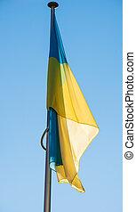 Flying Ukraine flag in Strasbourg - Flying Ukraine flag on a...