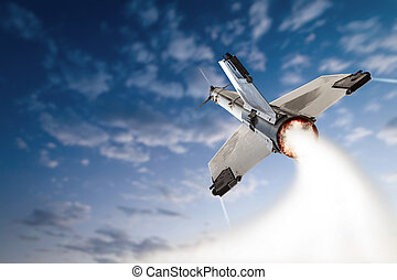 Flying-up militant missle with blue sky and clouds.