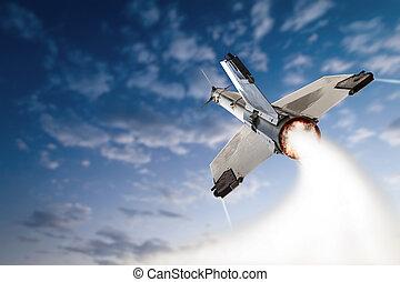 Flying-up militant missle.