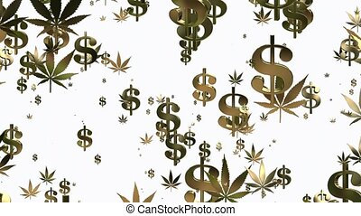 Flying USA dollar signs and cannabi