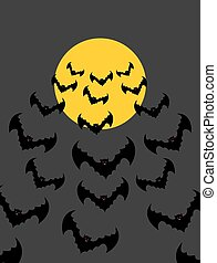 Flying vampires against background of moon. Bunch of scary bats. Halloween night