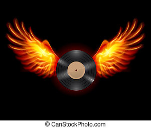 Flying Vinyl record - Flying Vinyl LP record, on wings of ...