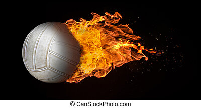 Flying volleyball engulfed in trailing flames with sparks flying on a black background. Concept of a fiery competition or fast moving ball.