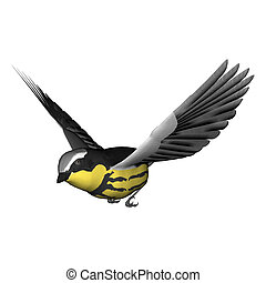 3D digital render of a flying songbird warbler isolated on white background