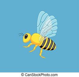 Flying Wasp Vector Illustration