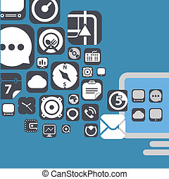 Flying web graphic interface icons