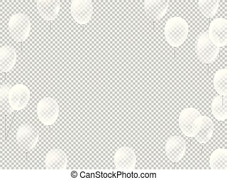 Flying white balloons on transparent background