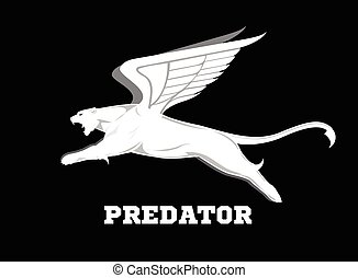 Flying white cougar.