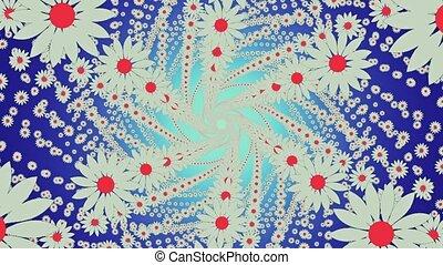 Flying white flowers on blue