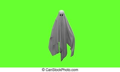 Flying white Ghost on an green screen 4k