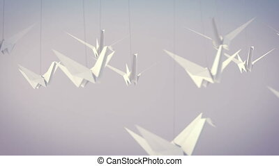 """""""Flying White Paper Cranes"""" - """"An impressive 3d rendering of..."""
