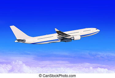 white passenger aircraft in blue sky