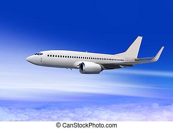 passenger aircraft in cloud sky