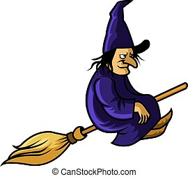 Flying Witch - A vector illustration of witch fly with broom