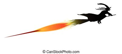 Flying Witch - A witch silhouette on her rocket powered...