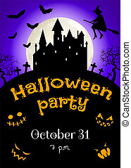 flying witch and castle - Halloween party invitation card...