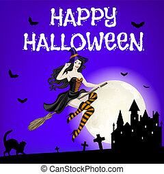 flying witch and castle - Happy Halloween card with flying...