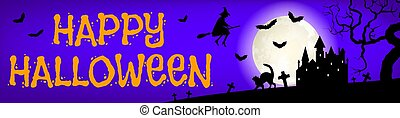 flying witch and castle - Happy Halloween web banner with...