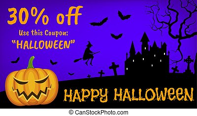 flying witch and Jack-o'-Lantern - Happy Halloween sale with...
