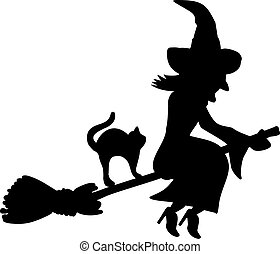Flying witch on a broom with cat