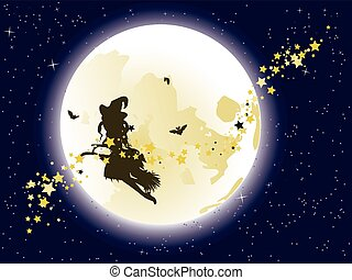 Flying Witch over Full Moon - Halloween flying witch on a...