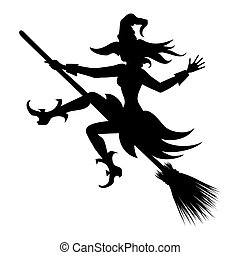 flying witch silhouette - witch flying on broom vector...