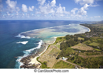 Mauritius - Flying with a helicpoter over the paradise ...
