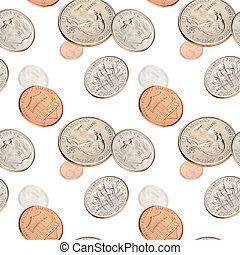 Flying with US coins on white background. Seamless pattern.