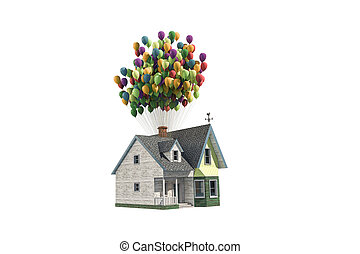 flying wooden house