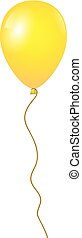 Flying yellow balloon isolated on white background, Vector illustration
