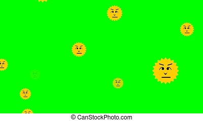Flying yellow emoticons in sun shape. Different facial...