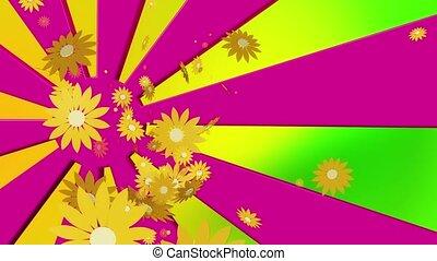 Flying yellow flowers on sunburst
