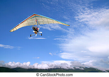 flykt, motorisera, segelflygplan, hänga