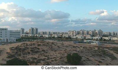 Flyover Ashdod Dunes Near Hospital shot clip
