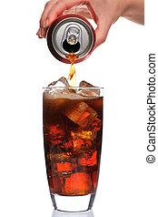 flytande, a, glas, av, cola
