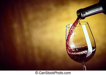 flytande, a, singel, röd vin glas, från, a, flaska