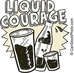 flytande, alkohol, skiss, mod