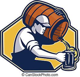 flytande, bartender, arbetare, öl mugg, trumma